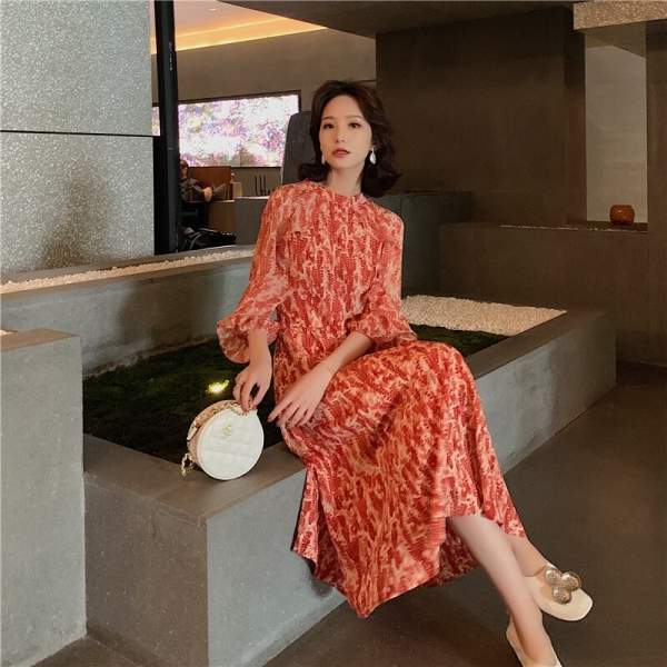 Vintage French Women Summer Dress Floral Printed Half Sleeve Elegant Hight Waist Petal Sleeve Sweet Midi Party Dresses