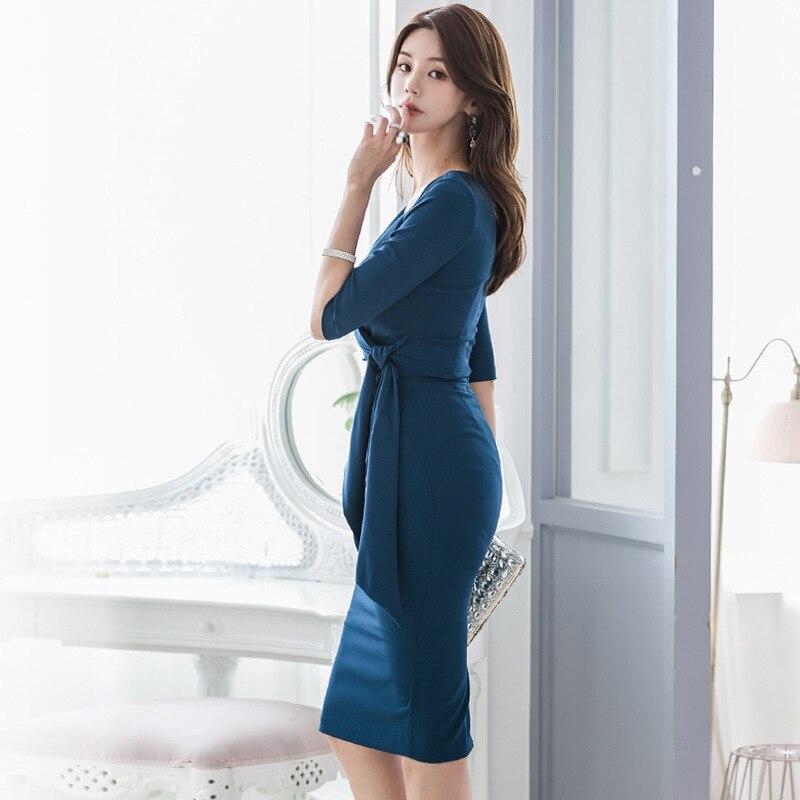 Large Size Blue Basic Fall Clothes for Ladies Half Sleeve Sheath Wrap Bandage Dress Women Solid Split Dinner Dresses for Women 2