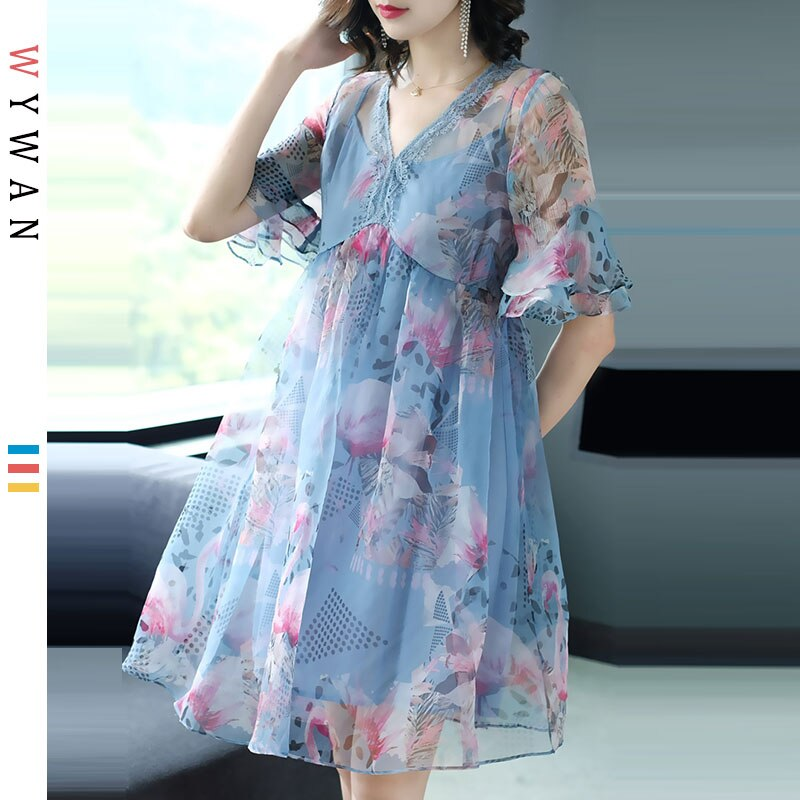 WYWAN Plus Size Women Beach Dress Summer Sundress Big Size Female Elegant Lady Vestidos Loose Solid Dress With Lining 19 New