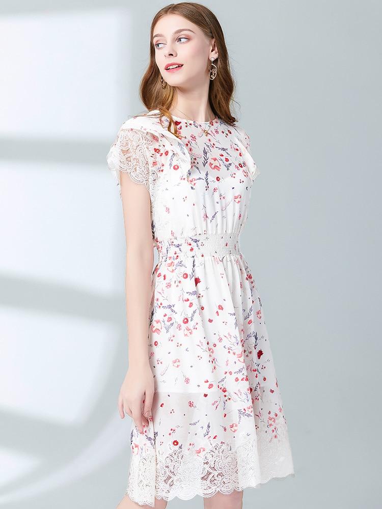 MIUXIMAO Top Quality 19 Fall Dress Flower Ptint Half Sleeve Dress Slim Lace Eleghant Cotton Casual Dress Women Vestidos 3