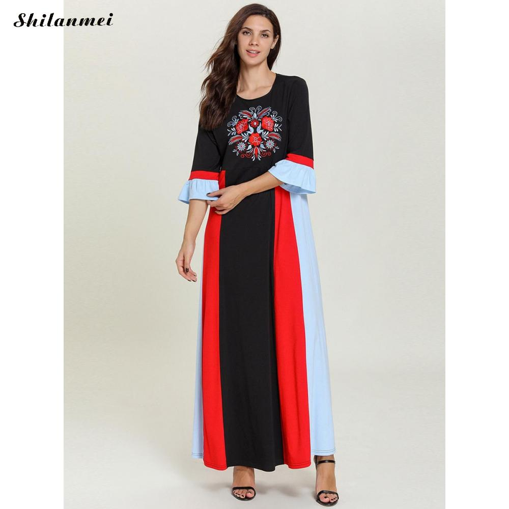 19 Autumn Women Casual Loose Cotton Long Dress Red Black Patchwork Elegant Floral Embroider Maxi Long Dresses Plus Size 4XL 2