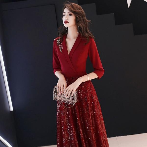 19 New Autumn Winter Dress Half Sleeve Temperament Red Dress Female Sexy V-neck Shoulder Embroidery Women Dress Sequin Dress