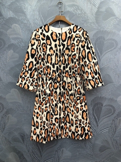 Europe&America women sexy leopard dress spring summer runways half sleeve dress B236