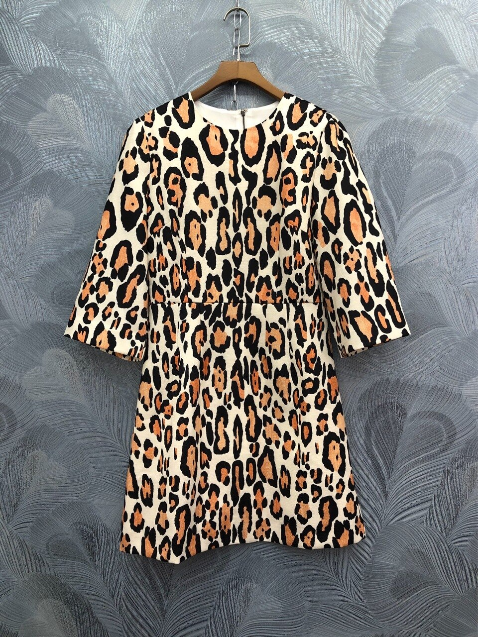 Europe&America women sexy leopard dress  spring summer runways half sleeve dress B236