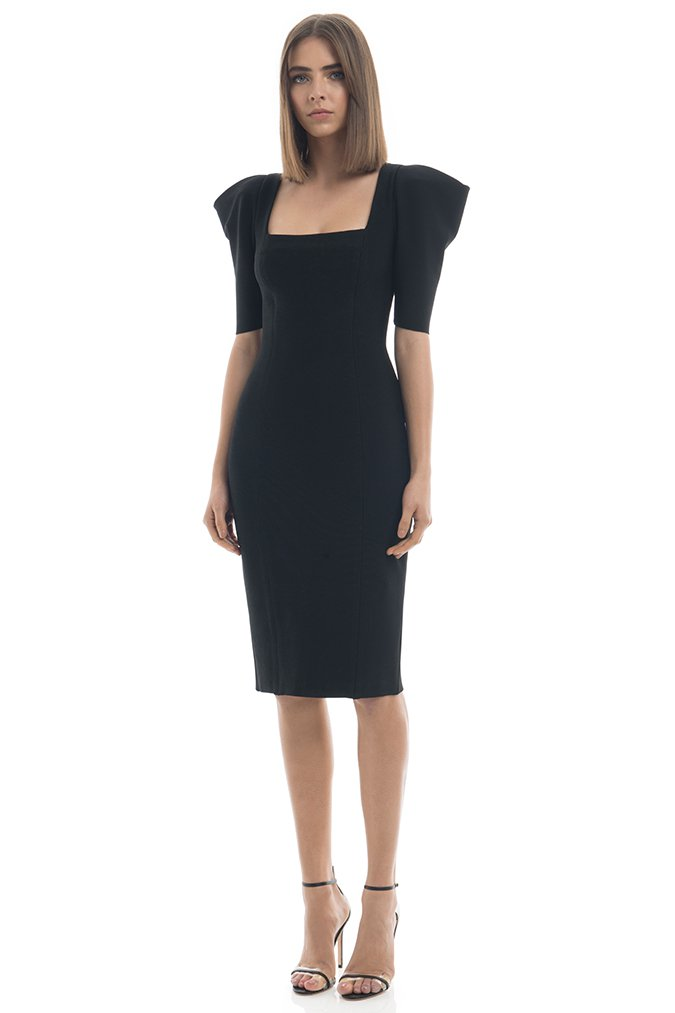 Summer Dress Women Sexy Half Sleeve Knee Length Black Bandage Dress 19 Ladies Designer Elegant Party Dress 2