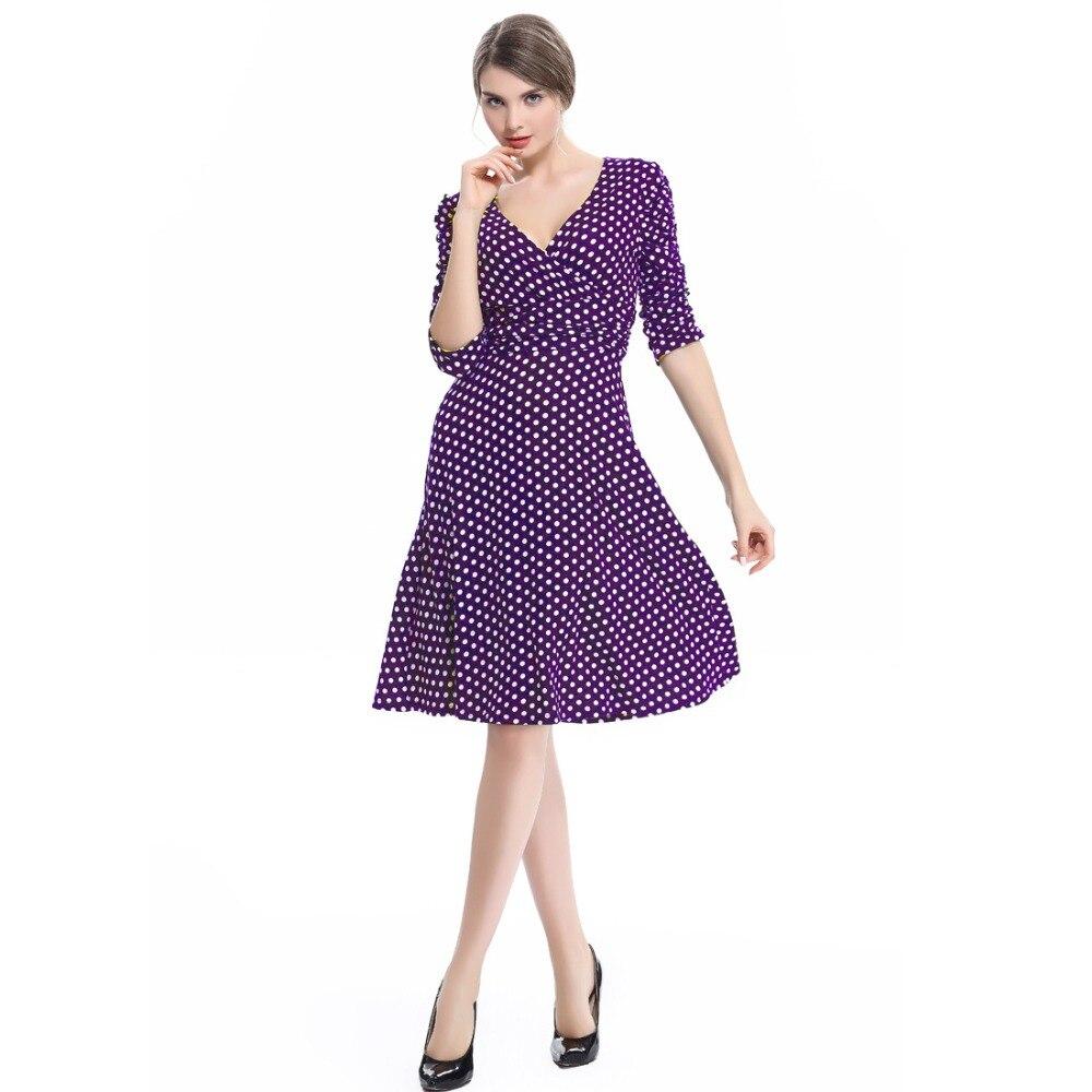 17 spring summer dress women princess elegant and ladies dress half sleeve dot casual dress for woman free shipping 3