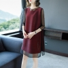 O-neck Half Sleeves Dress Hollow Out Mesh Patchwork Vintage 19 New Women Clothing Summer Fashion O-neck Half Sleeves Dress Hollow Out Mesh Patchwork Vintage Elastic Loose Dresses Female