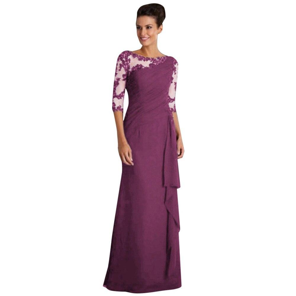 19 Women maxi dress Ladies Long Dress Lace Stitching Round Neck half Sleeve Dress Formal Dress 3
