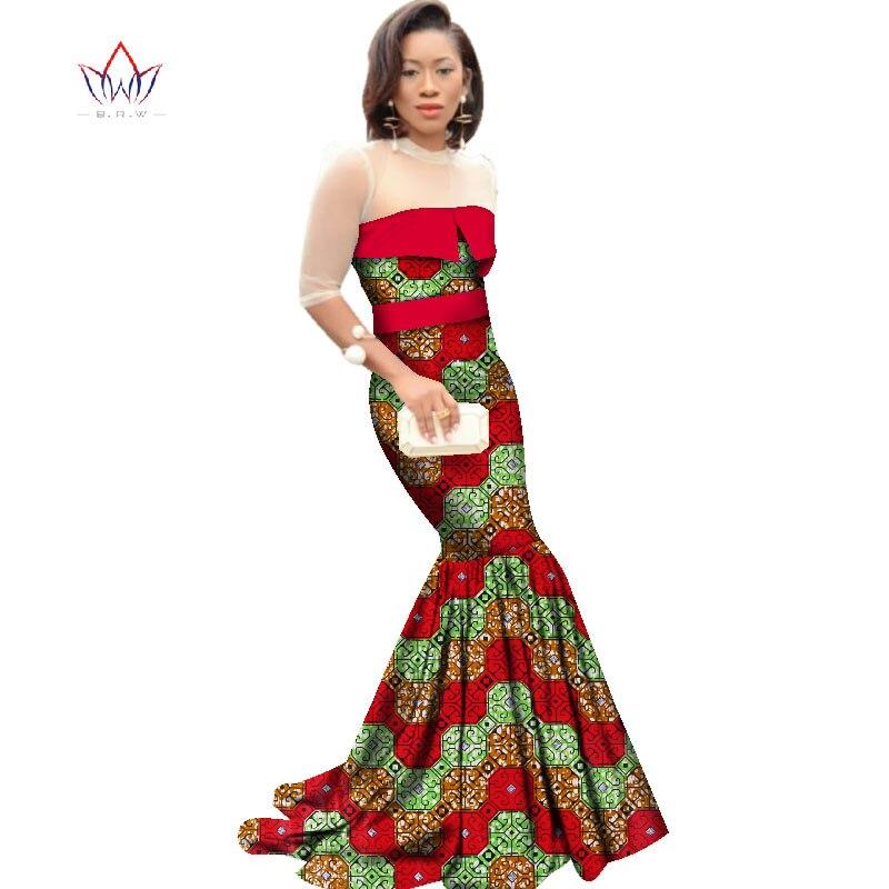 African Dresses for Women Dashiki African Print Clothing Half Sleeve Mermaid Dress Maxi Dress BRW Plus Size 6XL WY2318 3