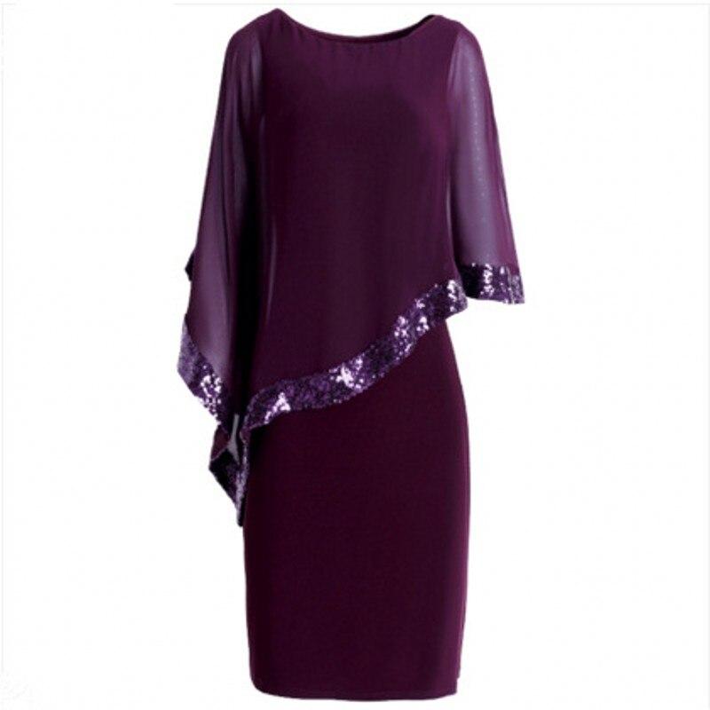 Women Elegant Cloak Sleeves Pencil Office Lady Dress 18 Vintage Chiffon Slim Work Office Business Party Bodycon Dress