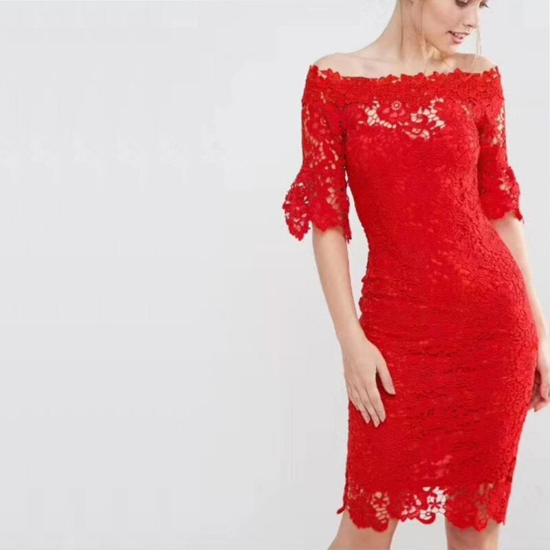 18 New Fashion Half Sleeve Lace Dress Summer Elegant Slash Neck Bodycon Sexy Red Women Party Bandage Dresses Vestido Wholesale 1