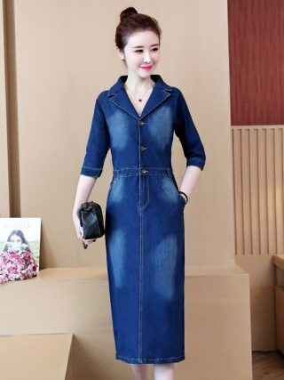 #2732 Spring Summer Half Sleeve Denim Dress Women Lapel Collar Slim High Waist Pencil Jeans Dresses Ladies Elegant Plus Size 5XL