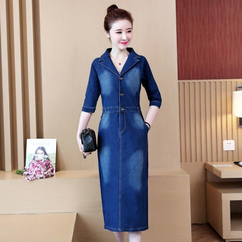 #2732 Spring Summer Half Sleeve Denim Dress Women Lapel Collar Slim High Waist Pencil Jeans Dresses Ladies Elegant Plus Size 5XL