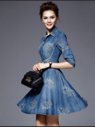 European Womens Jeans Dress Spring Summer Embroidered flowers Mini Denim Half Sleeve Dresses Vestido Femininos