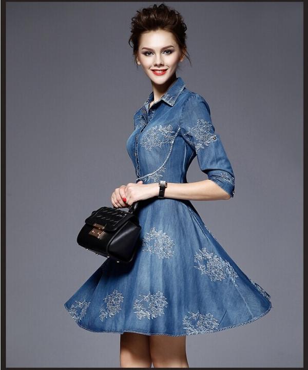 European Womens Jeans Dress Spring Summer Embroidered flowers Mini Denim Half Sleeve Dresses Vestido Femininos