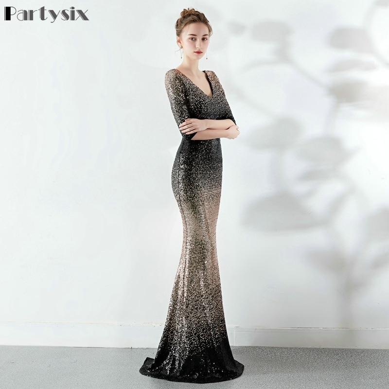 Partysix Elegant Sequins Dress Half Sleeve Evening Party Long Dress 2