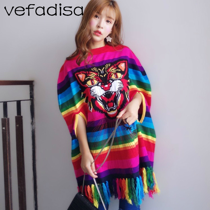Vefadisa Women Rainbow Color Striped Tassel Sweater Dress Embroidery Tiger Head Cloak Dress DQ538