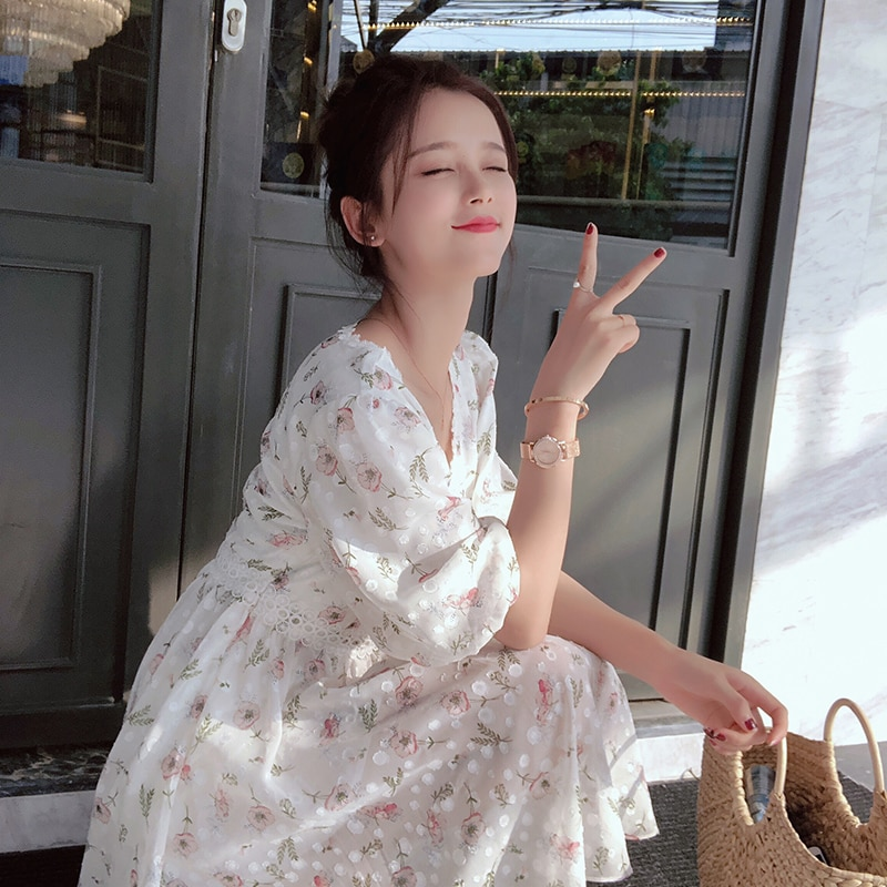 Mishow 19 Femal Summer Chiffon Dresses V-Neck Floral Beach Dress Mini cute girl Dress MX18B1234 2