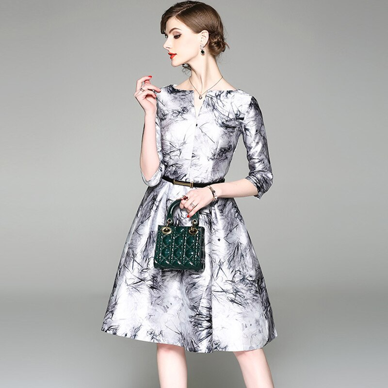 Chinese Style Print Floral Dresses Women Half Sleeve V-neck Big Swing A-Line Dress Ladies Spring Summer Slim Dress YP2246 3