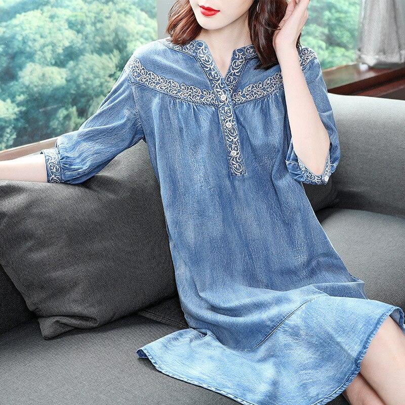 19 autumn new vintage ruffled denim dess women v-neck embroidered half sleeve a-line dress 3