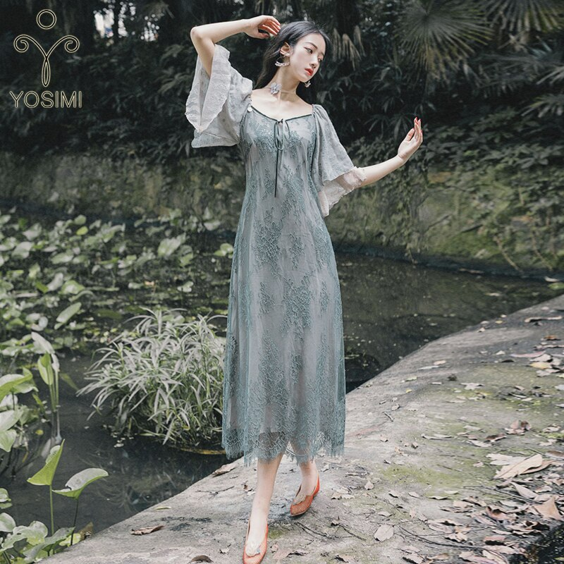 YOSIMI Women Dress 19 Summer Elegant Gray Lace Long Dress V-neck Half Sleeve Ladies Party Dress Ankle-Length Ruffles Sleeve 3