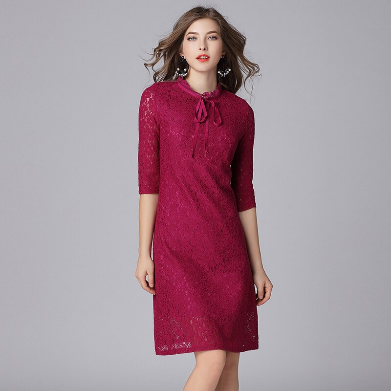 Queechalle Fuchsia Elegant Lace Dress for Women Bow Ties Collar Half Sleeve Women Dress 3XL 4XL 5XL Plus Size One-piece Vestidos 3