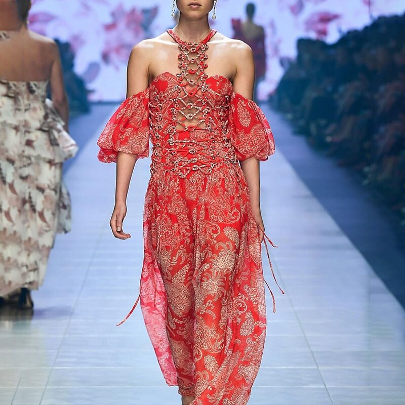 SISPELL Summer Hollow Out Print Women's Dress Halter Off Shoulder Half Sleeve A Line Dresses Female 19 Fashion New Vintage 2