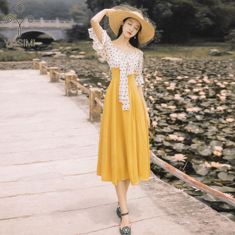 YOSIMI 19 Summer Slash Neck Off The Shoulder Long Women Dress Half Sleeve Party Dresses Print Dot Elegant Fake Set Mid-Calf 1
