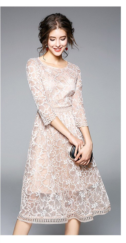 19 New Arrival Spring Women Party Dress O-Neck Round Neck A-Line Lace Dress Half Sleeve Knee Length Casual Dress 1