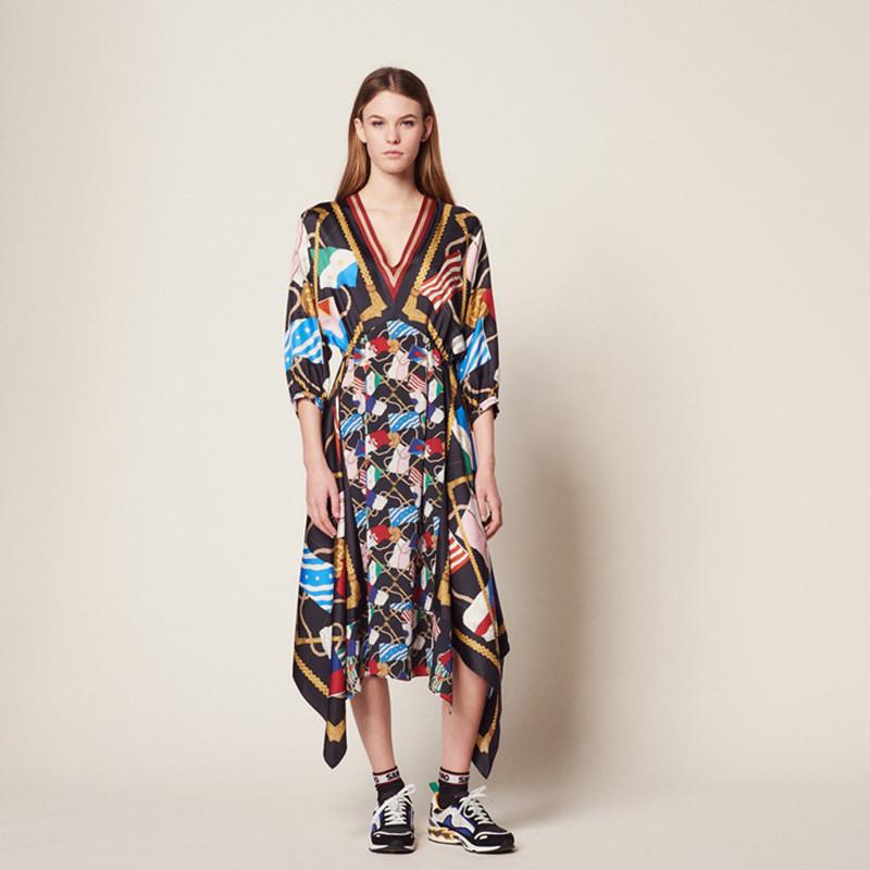 Summer Print Women's Holiday Dress Runway Irregular Sexy V Neck Half Sleeve Ladies Party Midi Dresses 19 Clothes 1