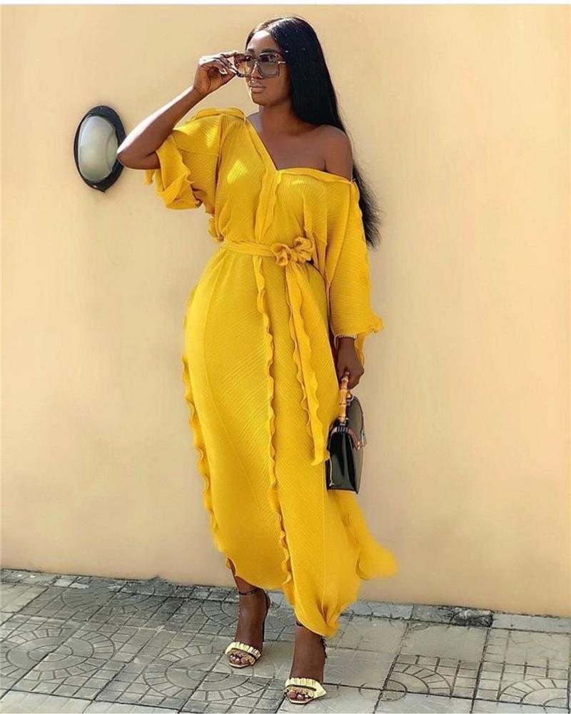 Brand Pleated Ruffle Loose Dress Women V-neck Half Sleeve Fashion Long Dress Solid Color Luxury Elegant Runway Dress Vestidos 2