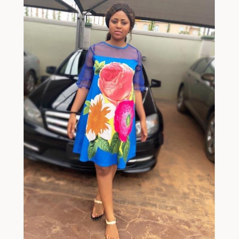 Elegant Women Patchwork Mesh Dress Casual Floral Print Dress Loose Half Sleeve Mini A-Line Dress 2