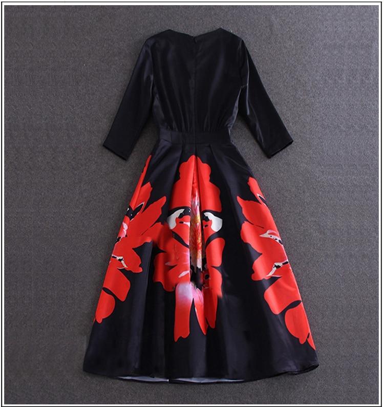 New Autumn Vintage Rockabilly Retro Swing 1950s 60s Pinup Party Dress Elegant Plus Size Half Sleeve Dresses Vestidos Femininos 2