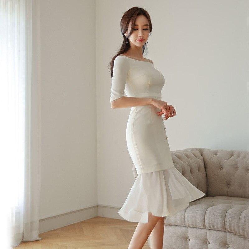 19 Summer Ruffles Casual Elegant Dress Slash Neck Chiffon Patchwork White Dress Women Half Sleeve Plus Size Dresses Ladies 1