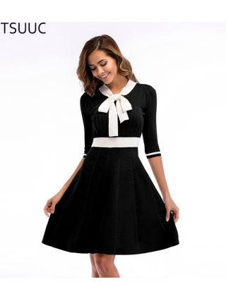SKTSUUC 19 Women Knitted Dress White Collar With Bow Half Sleeve Office Dresses For Ladies Autumn Women Knitted Dress