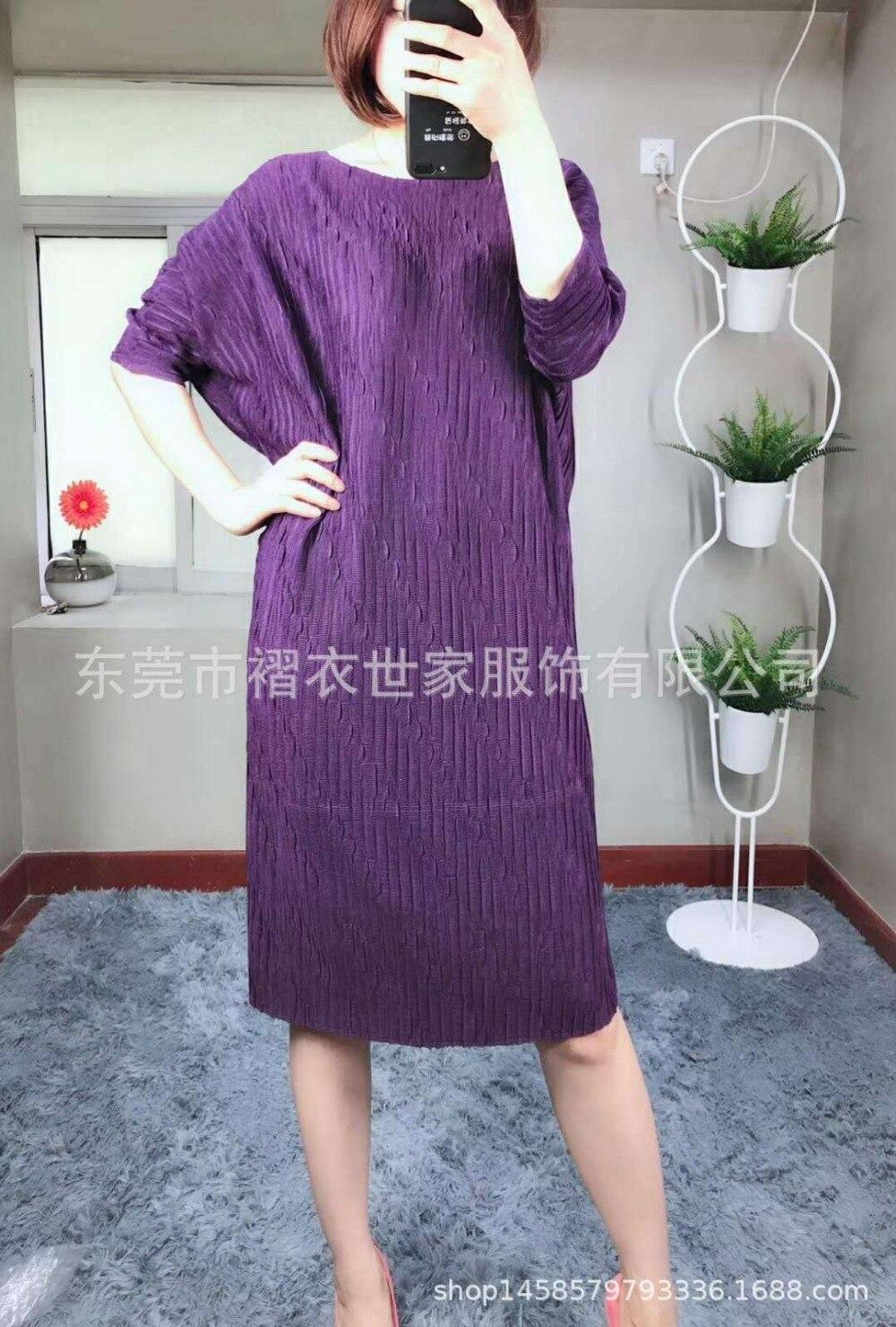 HOT SELLING Miyake Fashion fold o-neck half sleeve Embossed loose batwing sleeve dress IN STOCK