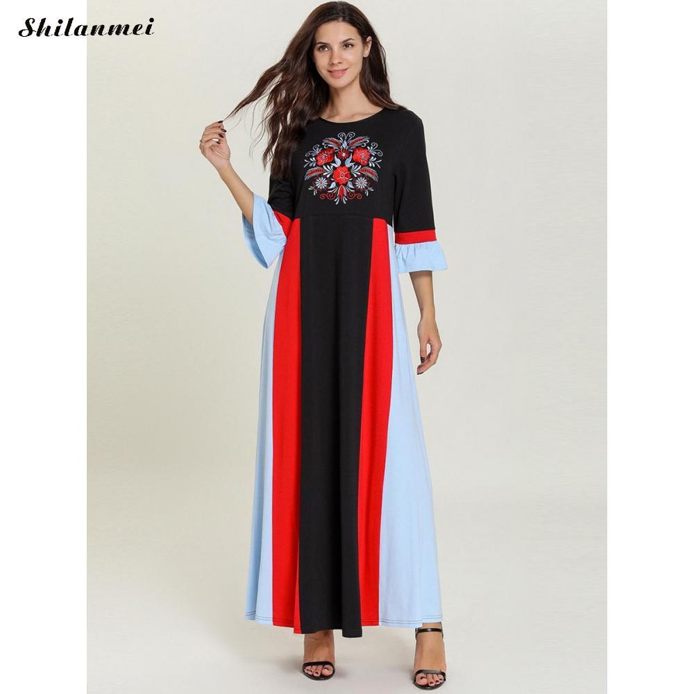 19 Autumn Women Casual Loose Cotton Long Dress Red Black Patchwork Elegant Floral Embroider Maxi Long Dresses Plus Size 4XL 3