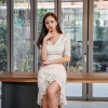 Empire Trumpet Korean Wrap Half Sleeve Ruffles Casual Dress Large Size Lace Patchwork Summer Dress 19 Women Empire Trumpet Korean Wrap Dress Half Sleeve Ruffles Casual Dress Plus Size