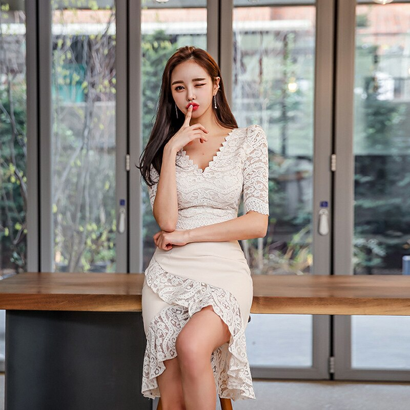 Large Size Lace Patchwork Summer Dress 19 Women Empire Trumpet Korean Wrap Dress Half Sleeve Ruffles Casual Dress Plus Size 1