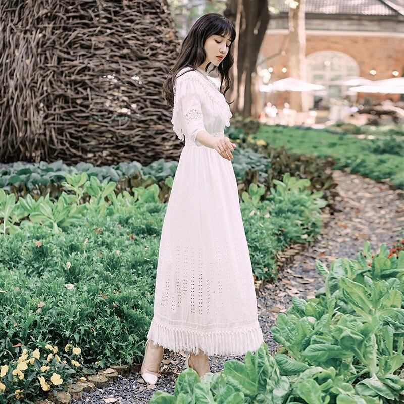 Foamlina Summer Women White Long Dress Sexy Dot Mesh Patchwork Half Sleeve Tassels Hollow Out Casual Female Beach Maxi Dress 3