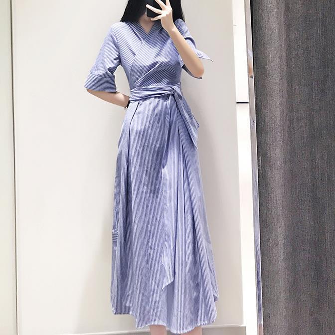 women Elegant office lady Striped half sleeve Shirt Dress v-neck Sleeve knee-length slim a-line Dress With Belt 3