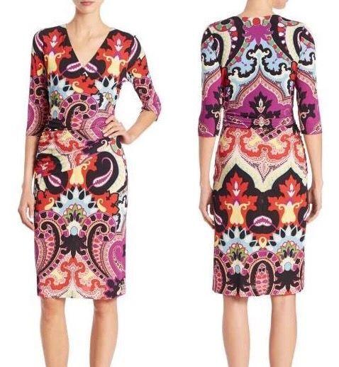 The new women's fashion print V collar half sleeve stretch knit Silk Jersey Slim dress 1