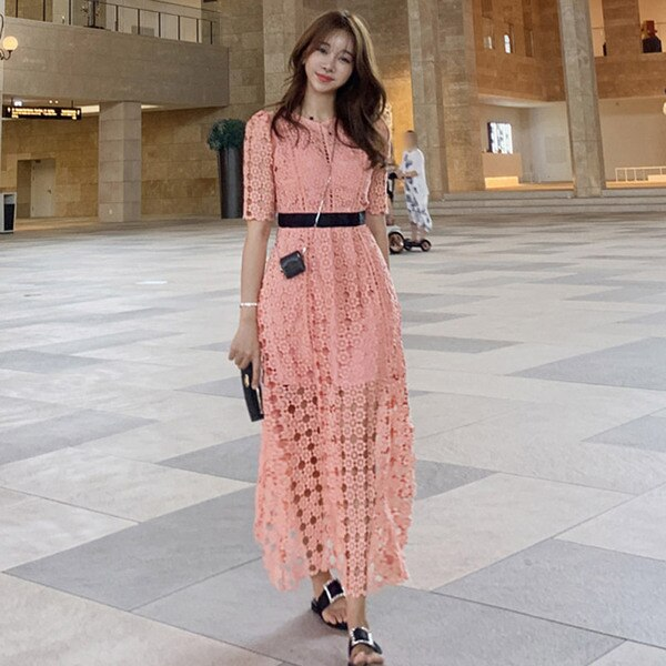 High Quality Runway pink Lace Dress 19 Autumn Women Half Sleeve O-Neck Hollow Out Crochet Slim Prom Office Party Long Dress 3