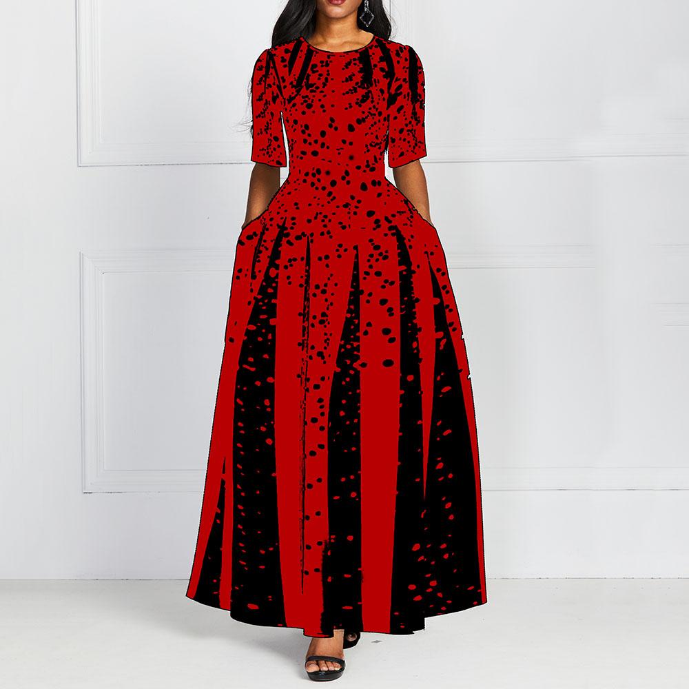 Women 19 Elegant Lady Party Dinner Midi Robe High Waist Bandage Print African Christmas Dress Vestiods Half Sleeve Dress 3