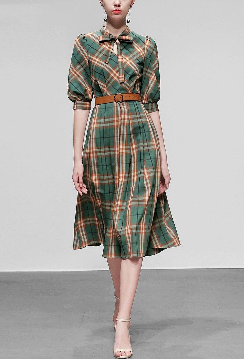 Elegant Plaid Dress Autumn Women Half Sleeve Office Lady Casual A Line Slim Dress Women With Belt Vintage Women Dress SL574 2