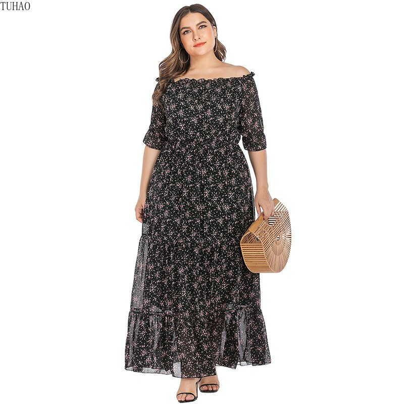 Large Size Office Ladies Slash Neck Floral Dress Half Sleeves Ruffles Stitching Maxi Dresses Woman Clothes TMZ7102 1
