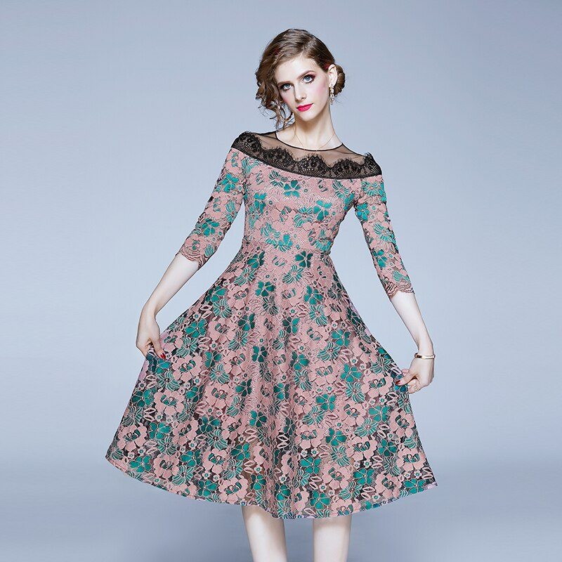TAOYIZHUAI casual style women dress A-line nature waist rond neck half sleevs hollow out patchwork lady party fashion dress 3