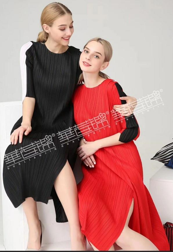 FREE SHIPPING Miyake fashion fold patchwork half sleeve o-neck a-line dress IN STOCK 2