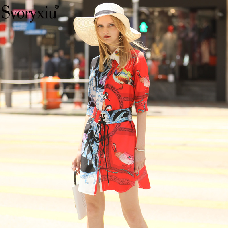 Svoryxiu Fashion Designer Summer Girdle Dress Women's Elegant Beading Half Sleeve Color Matching Printed Dress Vestdios 2