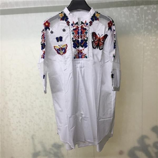 Women's Dresses 18 Half Sleeve Embroidery Dress Casual Loose White Blouse Dress Women